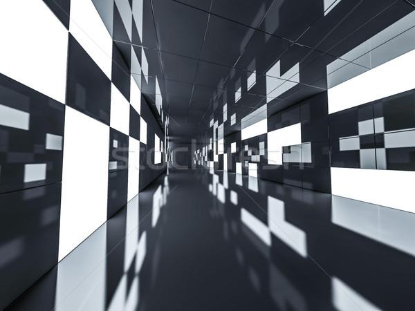 Egyszerű üres szoba belső lámpák 3D renderelt kép Stock fotó © user_11870380