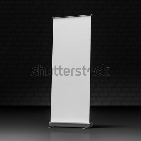 Rollen omhoog banner 3D zwarte Stockfoto © user_11870380
