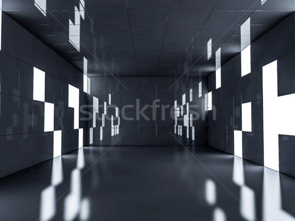 Eenvoudige lege kamer interieur lampen 3D Stockfoto © user_11870380