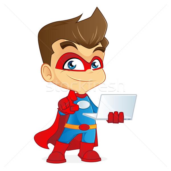 Desenho animado ilustração computador homem assinar Foto stock © user_8928535