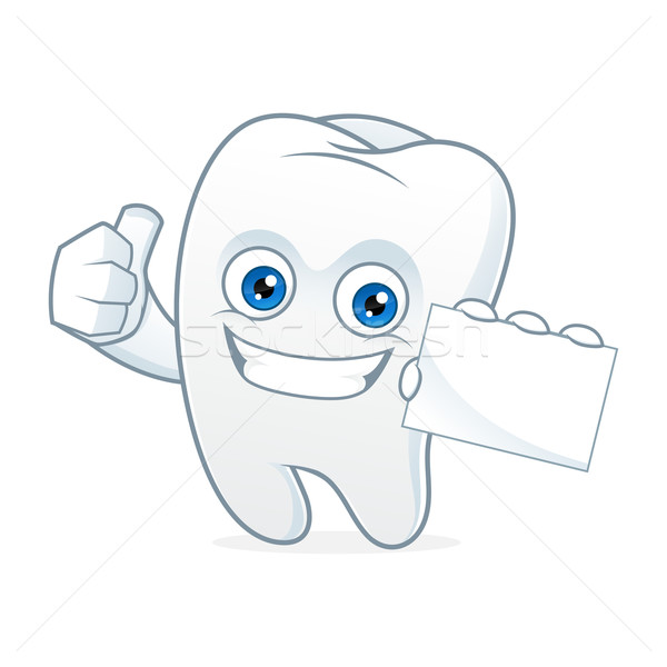 Tooth cartoon mascot hold business card Stock photo © user_8928535
