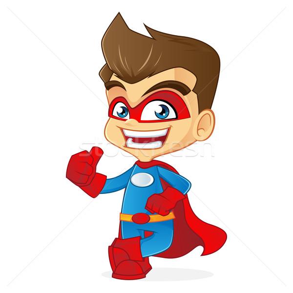 Superhero Cartoon иллюстрация компьютер человека знак Сток-фото © user_8928535