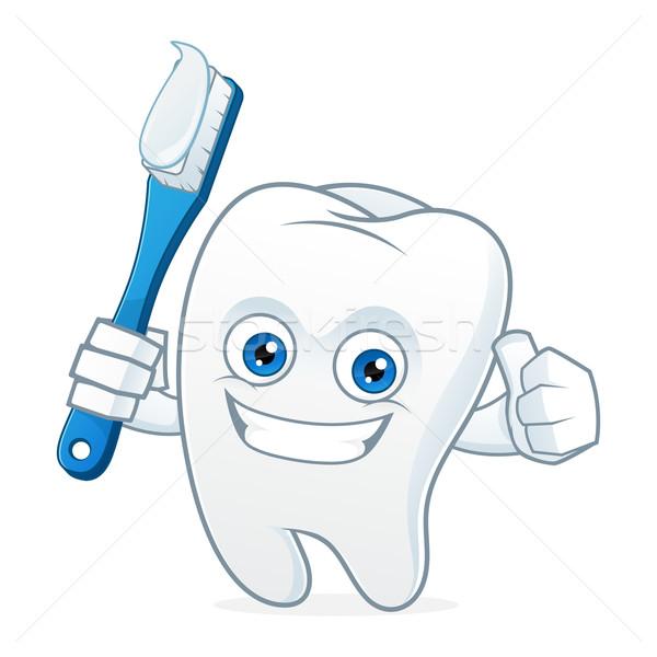 Tooth cartoon mascot brushing teeth Stock photo © user_8928535