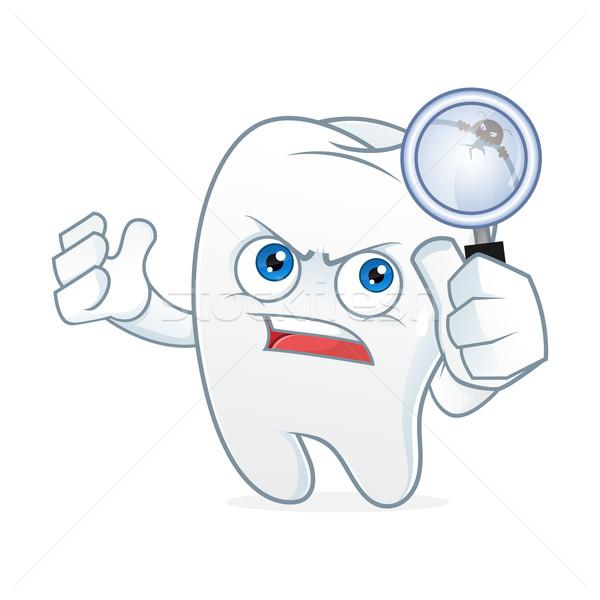 Stock foto: Zahn · Cartoon-Maskottchen · Zahnschmerzen · Reinigung · weiß · Karikatur