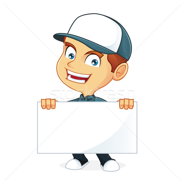 Futár rajz illusztráció férfi művészet doboz Stock fotó © user_8928535