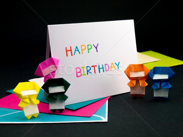 Mensagem cartão família amigos feliz aniversário flor Foto stock © user_9323633