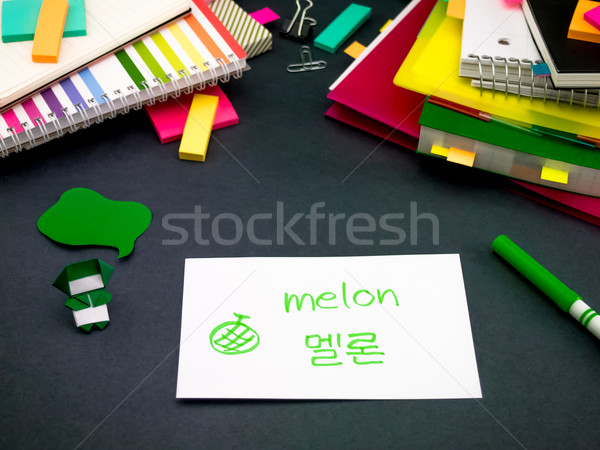 Learning New Language Making Original Flash Cards; Korean Stock photo © user_9323633