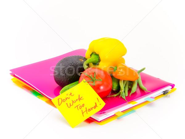 Iroda iratok zöldségek munka ajándék üzenetek Stock fotó © user_9323633