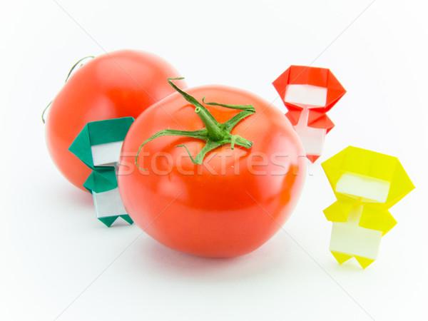 Origami ninja tomaat kleurrijk spelen groenten Stockfoto © user_9323633