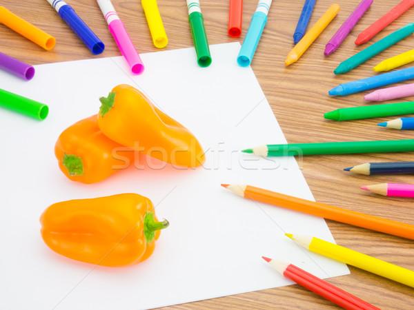 Tekening paprika zoals vruchten groenten Stockfoto © user_9323633