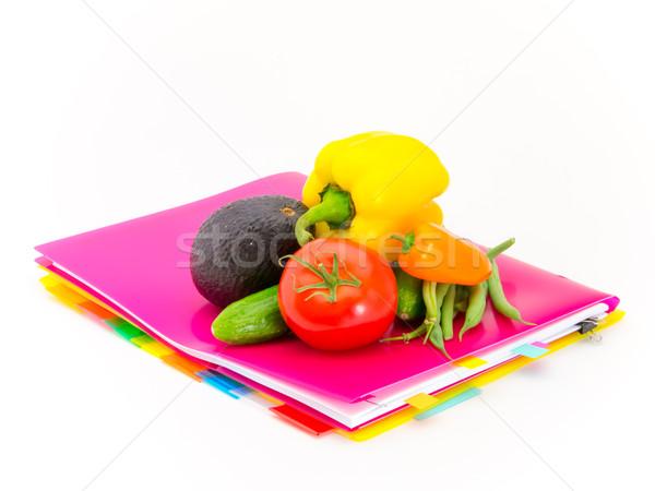 Kantoor documenten groenten aanwezig berichten hard werken Stockfoto © user_9323633