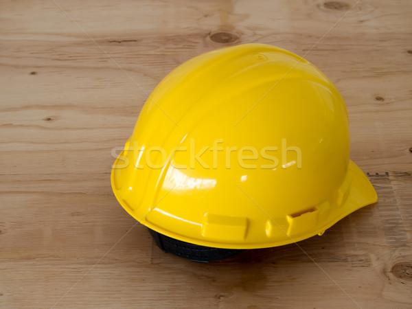 Geel helm veiligheid achtergrond industriële interieur Stockfoto © user_9323633