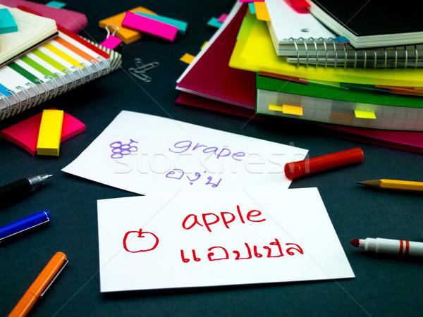 Stock photo: Learning New Language Making Original Flash Cards; Thai