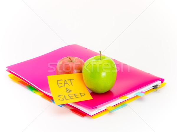 Escritório documentos maçãs comer dormir apresentar Foto stock © user_9323633