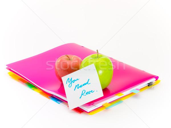 Oficina documentos manzanas necesidad presente frutas Foto stock © user_9323633