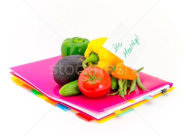 Escritório documentos legumes saudável apresentar Foto stock © user_9323633