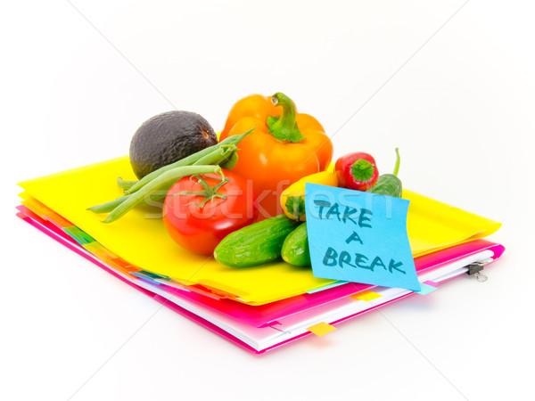 Kantoor documenten groenten pauze aanwezig Stockfoto © user_9323633