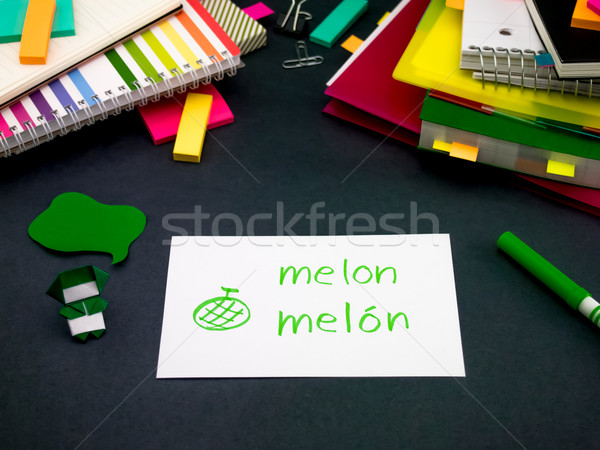 Learning New Language Making Original Flash Cards; Spanish Stock photo © user_9323633