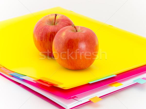 Escritório documentos maçãs apresentar frutas Foto stock © user_9323633
