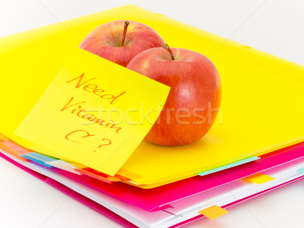 Iroda iratok almák szükség c vitamin ajándék Stock fotó © user_9323633