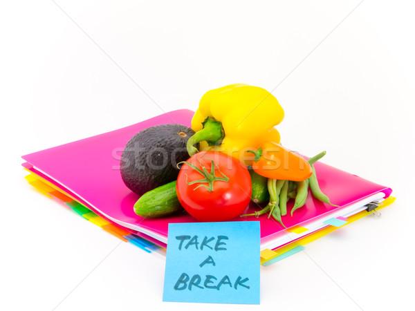 Iroda iratok zöldségek elvesz törik ajándék Stock fotó © user_9323633