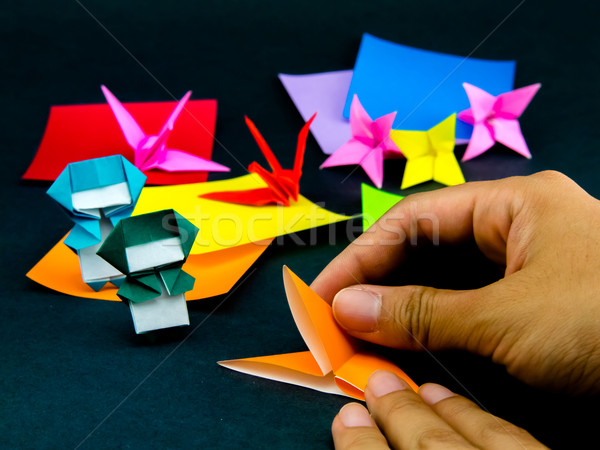 Japanese Origami Toys Folding Instructions; How to Play Stock photo © user_9323633