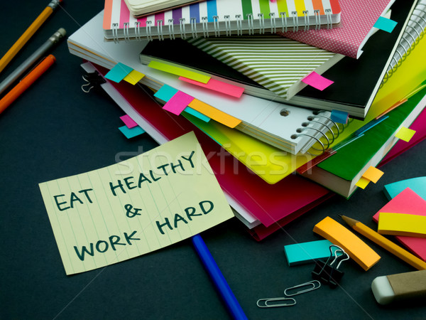 Stock photo: Somebody Left the Message on Your Working Desk; Eat Healthy and