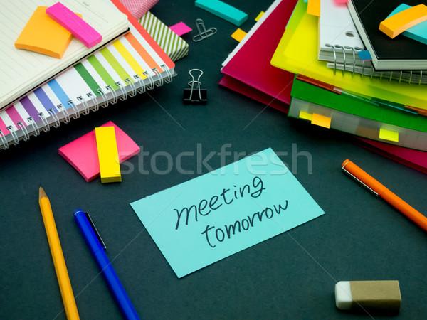 сообщение рабочих столе заседание завтра служба Сток-фото © user_9323633