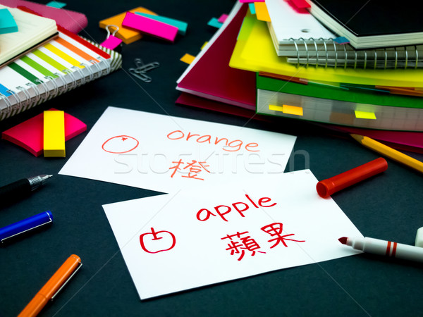 Learning New Language Making Original Flash Cards; Mandarin Stock photo © user_9323633