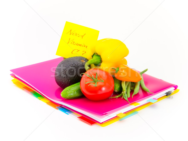 Office Documents and Vegetables; Need Vitamin C Stock photo © user_9323633