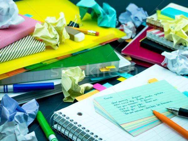 Leren nieuwe taal schrijven woorden veel Stockfoto © user_9323633