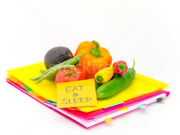 Escritório documentos legumes comer dormir apresentar Foto stock © user_9323633