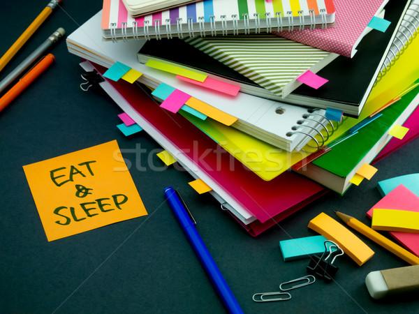 Mensaje de trabajo escritorio comer sueno negocios Foto stock © user_9323633