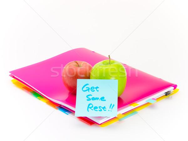Oficina documentos manzanas presente frutas mensajes Foto stock © user_9323633