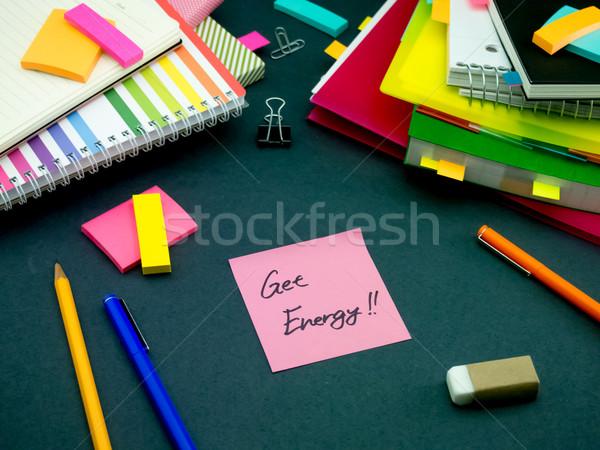 Foto stock: Mensagem · trabalhando · secretária · energia · escritório · escolas