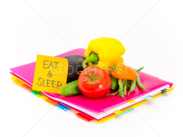 Ofis belgeler sebze yemek uyku sunmak Stok fotoğraf © user_9323633