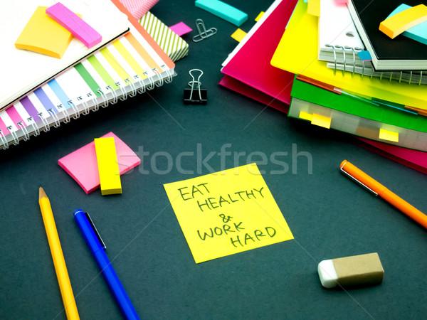 Mesaj çalışma büro yemek sağlıklı çalışmak Stok fotoğraf © user_9323633