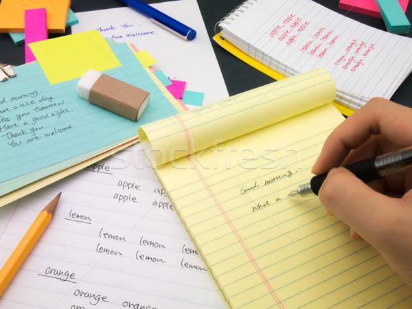 Stock foto: Schriftlich · neue · Sprache · Englisch · Worte · lernen