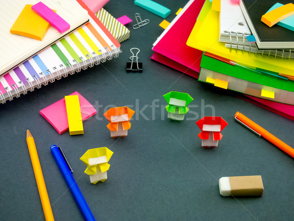 Little Origami Ninjas Helping Your Work on Your Desk When You Ar Stock photo © user_9323633