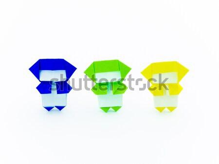 Kleurrijk origami ninja cute spelen samen Stockfoto © user_9323633