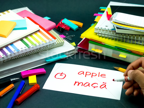 Learning New Language Making Original Flash Cards; Portuguese Stock photo © user_9323633