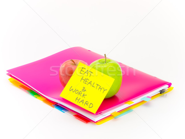 Escritório documentos maçãs comer saudável trabalhar Foto stock © user_9323633