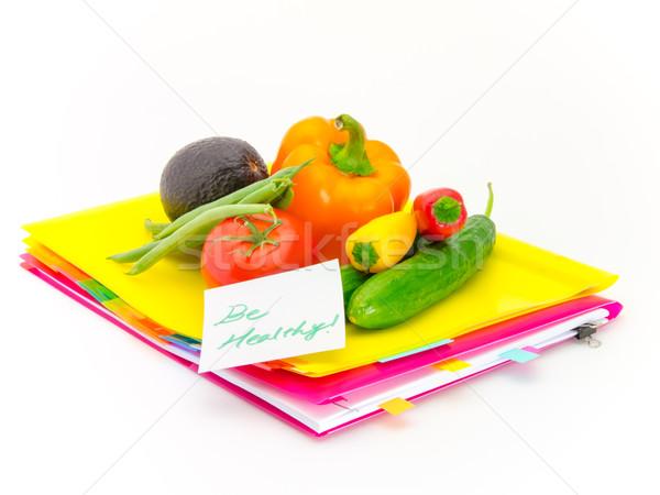 Kantoor documenten groenten gezonde aanwezig berichten Stockfoto © user_9323633