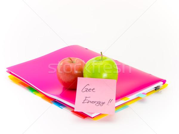 Kantoor documenten appels energie aanwezig vruchten Stockfoto © user_9323633