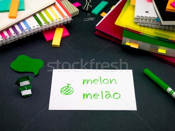 Learning New Language Making Original Flash Cards; Portuguese Stock photo © user_9323633