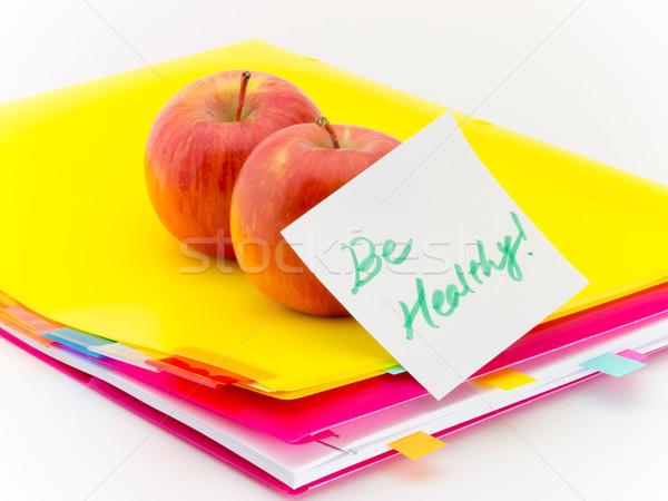 Ofis belgeler elma sağlıklı sunmak meyve Stok fotoğraf © user_9323633