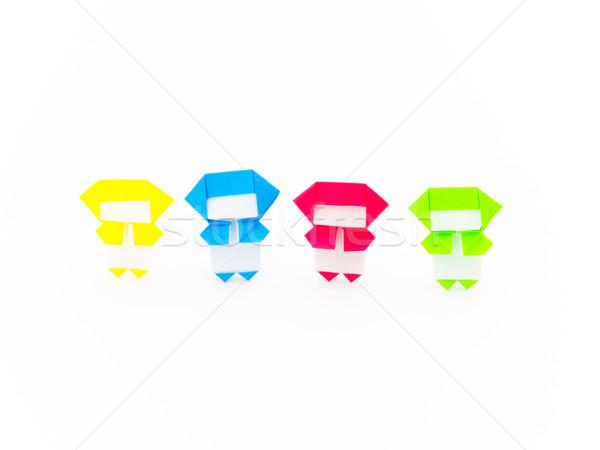 Foto stock: Colorido · origami · ninja · bonitinho · jogar · juntos