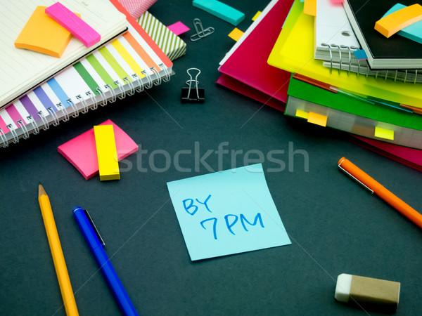 Mensagem trabalhando secretária negócio papel escolas Foto stock © user_9323633
