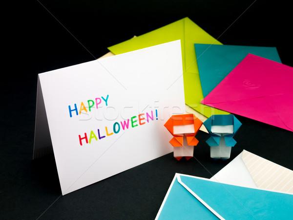 Mensagem cartão família amigos halloween papel Foto stock © user_9323633