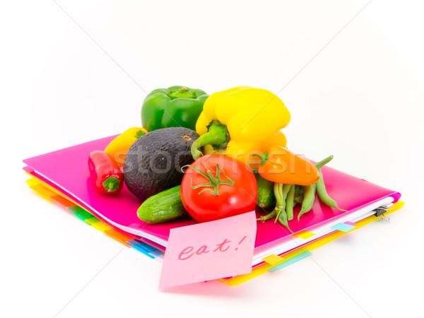 Escritório documentos legumes comer apresentar Foto stock © user_9323633